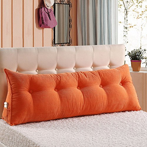 (VERCART Sofa Bed Large Filled Triangular Wedge Cushion Bed Backrest Positioning Support Pillow Reading Pillow Office Lumbar Pad with Removable Cover Orange 59x7.9x19inch)