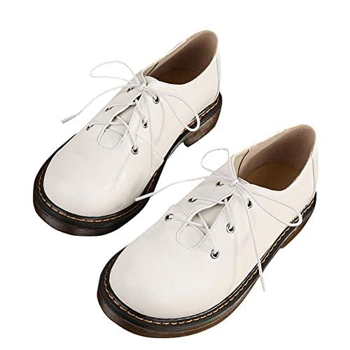 SXSHUN Mocasines para Niñas Zapatos para Uniforme Colegio con Cordones Piel Sintética: Amazon.es: Zapatos y complementos
