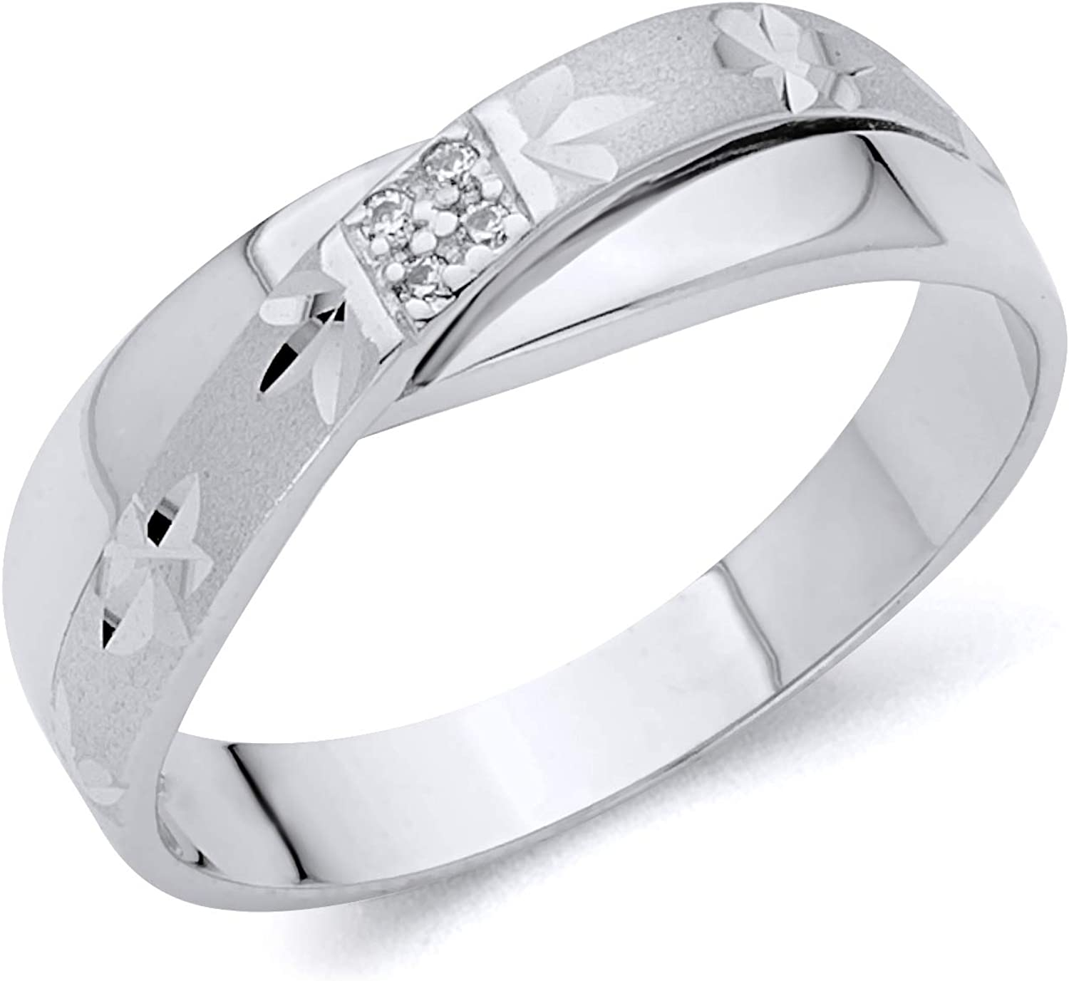 It is a photo of Wellingsale Mens Solid 44k White Gold CZ Cubic Zirconia Wedding