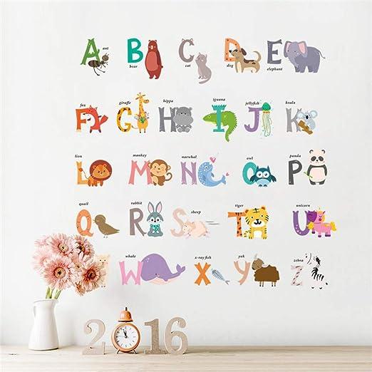 SHENGYUNPIO 26 ABC Alfabeto Palabras Pegatinas de Pared para Habitaciones de niños vivero decoración para el hogar Animales de Dibujos Animados ...