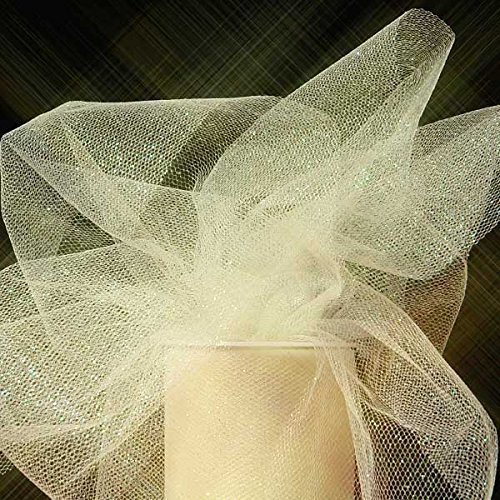 """(Ship From USA) Premium Sparkling Glitter Tulle Rolls - 6"""" by 25 Yards (Ivory - Cream) / Our Sparkling Tulle is covered with tons of glitter, giving the tulle lots of spark.,Please be aware that with"""