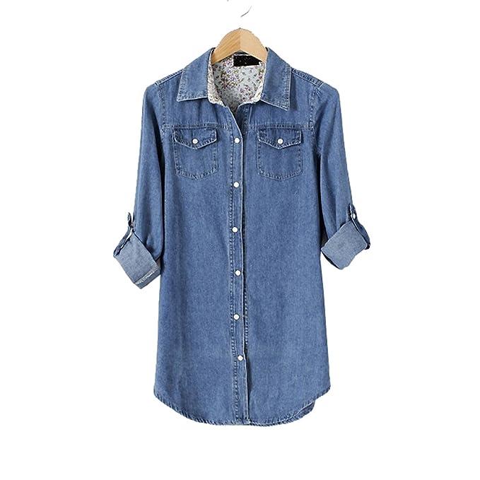 1216abeca13c3 oboss Women s Cuffed Long Sleeve Denim Shirts Blouse Jean Jacket Office  Lady T Shirt Lapel Slim