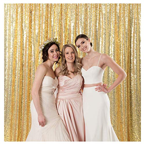B-COOL 4ftx7ft Gold Shimmer Sequin Fabric Photography Backdrop Glitter Backdrop Curtain Sequins Photo Background for Weddings]()