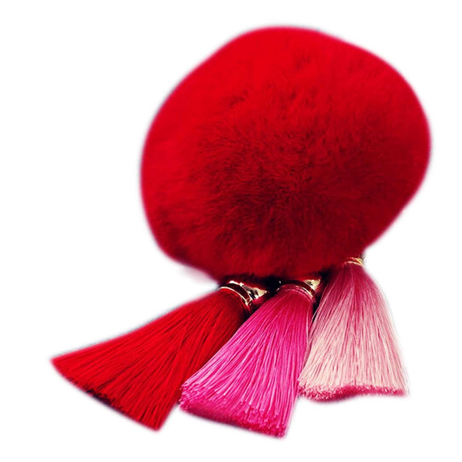 Rabbit Fur Ball Plush Fur Key Chain Pom Pom Keychain Tassel Pompom Car Bag Keychain Key Ring Pendant Jewelry^Red