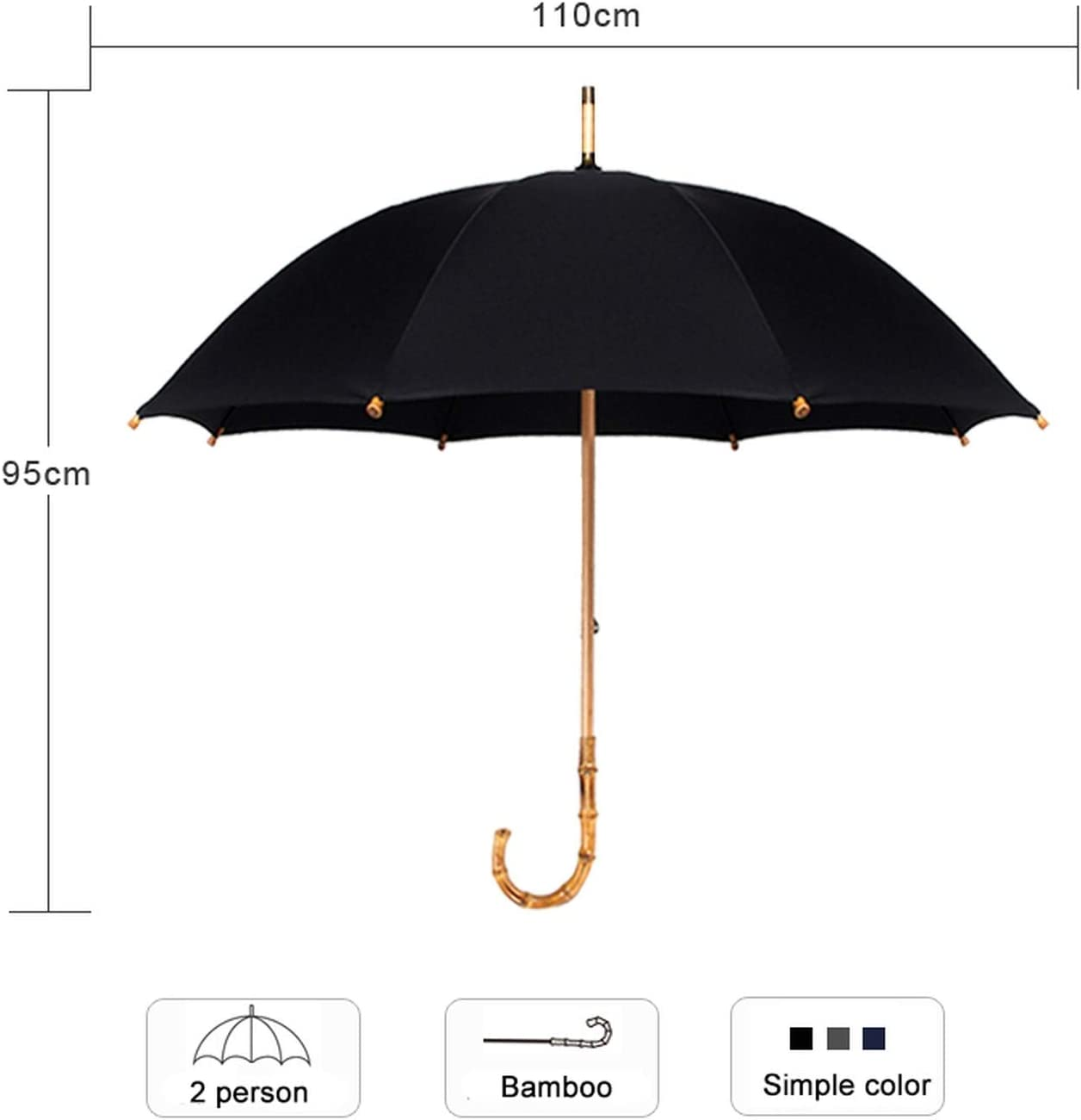 Bamboo Rattan Long Umbrella Men Retro Curved Handle Strong Glass Fiber Anti UV
