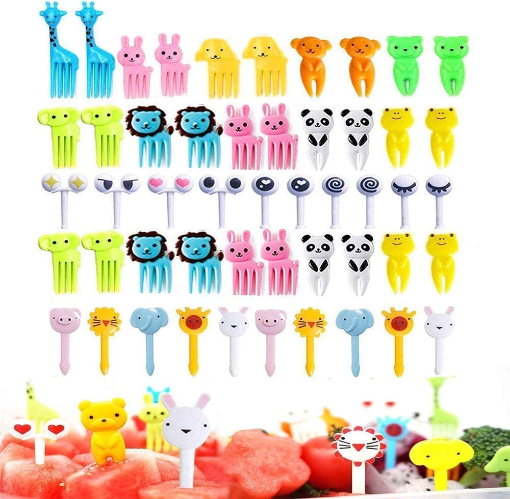 50 Pcs Food Fruit Fork Picks for Kids Cute Animals Bento Box Decor ForksCake Little Forks Dessert Forks Mini Cartoon Toothpick for Cake Dessert Pastry Party Supply