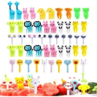 50 Pcs Food Fruit Fork Picks for Kids Cute Animals Bento Box Decor ForksCake Little Forks Dessert Forks Mini Cartoon…