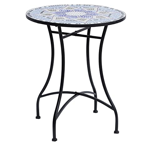Outsunny Table Ronde Pliable Style Fer forgé bistrot Plateau ...
