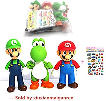 Jiahui Brand 3 Pcs Super Mario Bros Luigi Mario Yoshi Pvc Action Figures Toy 4 7