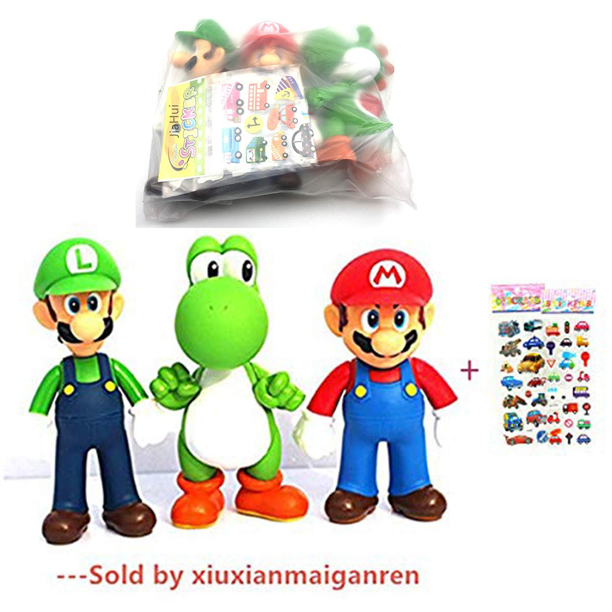 Jiahui Brand 3 Pcs Super Mario Bros Luigi Mario Yoshi PVC Action Figures Toy 4.7