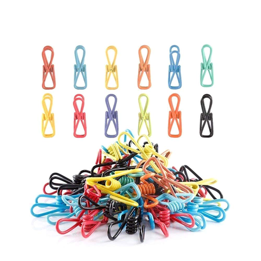 URBEST Clothesline Clips Colorful Multipurpose Plastic-Coated Metal Clip, Chip Clips for Clothes Bag Paper Document use, Pack of 70