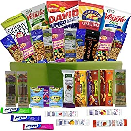 Healthy Snacks Care Package Gift Basket- 32 Health Food Snacking Choices - Quick Ready To Go - For Adults, College Students Gifts, Kids, Toddlers, Birthday Ideas - Say Thank You or Congratulations 14 Healthy You! Catered Cravings offers the perfect variety pack for healthy snacking. Your taste buds will never get bored again snacking. 32 individually wrapped items to choose from means the recipient will be in awe of the large choices they have before them. Includes Drink Mixes, variety of Nuts, Trail Mixes, Granola Bars, Protein Bars, Sunflower Seeds and more. See more specific details about care packages in Product Description below. Gift boxes will be consistent, you will get what you see in pictures and read in the product description. You will know exactly what you are sending every time (snack product packaging may change but products themselves are the same). Includes a 6 quart Re-usable Snack Bin carefully packed full of the best and most loved healthier snacks on the market. Each bin will be shrink wrapped for safe travels. All products are guaranteed fresh! No stale or expired products ever. You will receive the best quality fresh product in each Catered Cravings delivery.