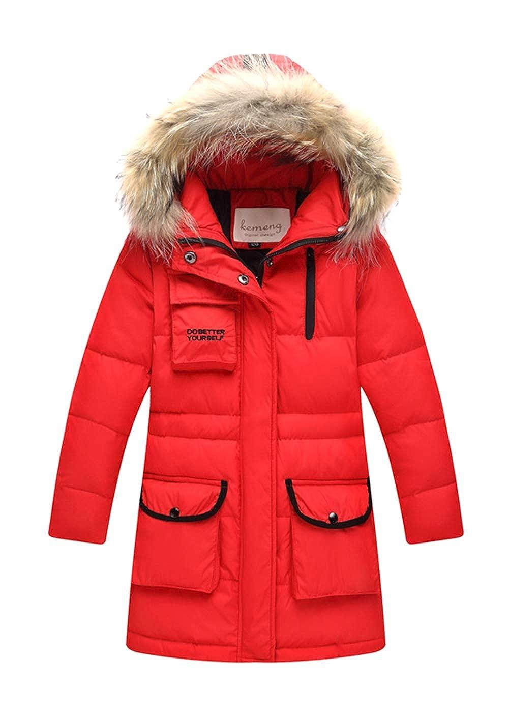Rouge 1 Stature fille 120-130cm Insun Doudoune pour Garçon Fille Veste d'hiver avec Capuche Amovible Enfant Manteau Blouson