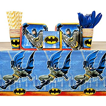 Astra Gourmet Batman Party Supplies Pack For 20 Guests Straws Plates Cutlery Cups Bundle For 20 Napkins Toys Games Party Packs