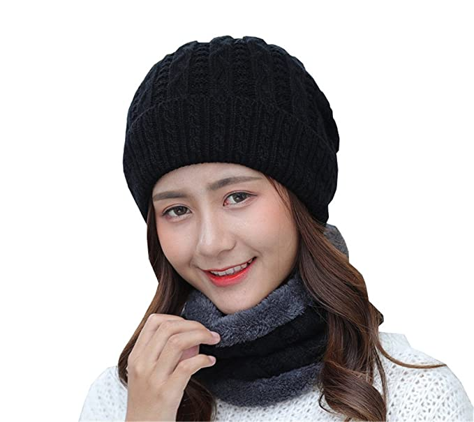 Women s Velvet Knit Beanies Winter Korean Fashion Hats Scarf Set ... 80c15f36d2b