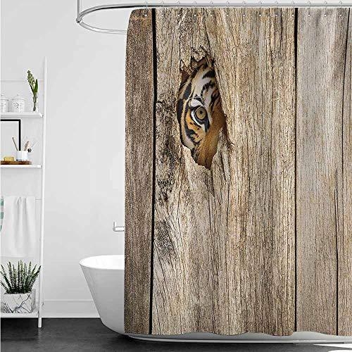 (home1love Bathtub Splash Guard,Safari Siberian Tiger Eye Looking Through Wooden Peep Hole in Spy Predator Big Cat Wild Print,Fabric Shower Curtain Bathroom,W94x72L,Tan)