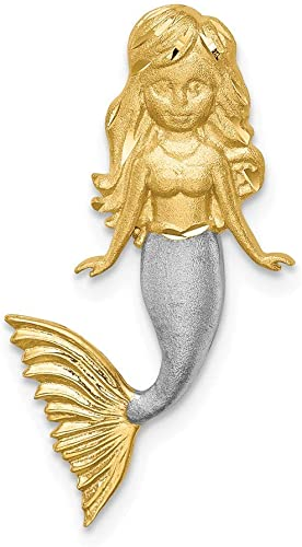 14K /& White Rhodium Brushed Mermaid Slide