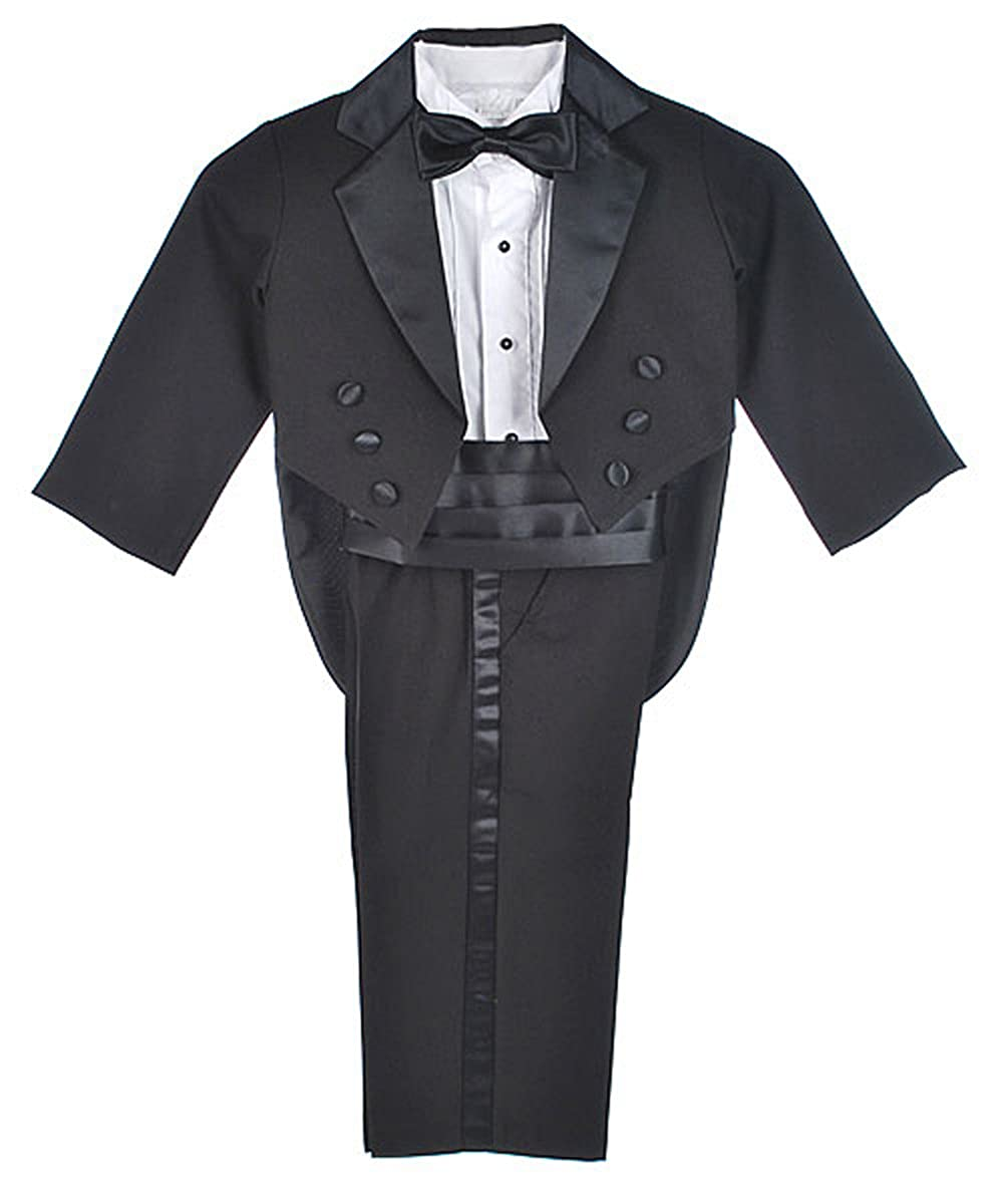 Kaifer Little Boys' Toddler 5-Piece Tuxedo with Tails - black, 3t