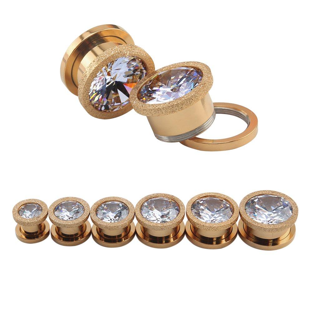 ZeSen Jewelry Acero Inoxidable de Oro Rosa de Tornillo Grande Cubic Zirconia del oído Tapones Calibradores Túneles Expander perforación del Cuerpo (2) Gauge ...