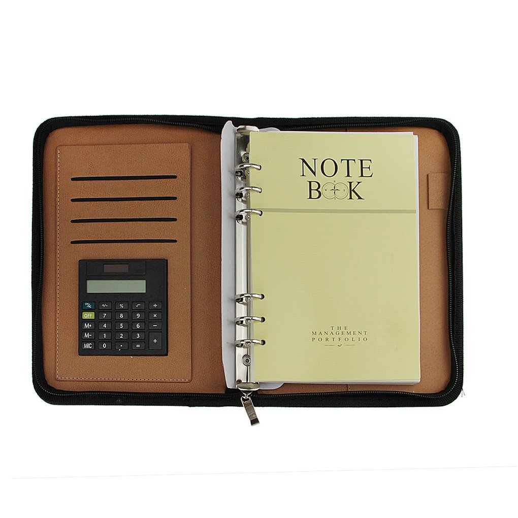 Multifunctional Retro Business Zipper Notepad Soft Leather Cover Notepad with Calculating Machine Loose-Leaf Writing Notebook Organizer, Travel Journal Lined Paper, Pen Holder