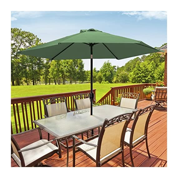 Sorbus Outdoor Umbrella, 10 ft Patio Umbrella with Tilt Adjustment and Crank Lift Handle, Perfect for Backyard, Patio, Deck, Poolside, and More (Green) - 10 FT OUTDOOR UMBRELLA - Stay cool and comfortable outdoors with a beautiful patio umbrella, perfect for shade coverage- Features classic crank operation with adjustable tilt function (NOTE: Umbrella BASE NOT Included) EASY CRANK LIFT SYSTEM - Smooth crank lift handle located on support pole opens/closes umbrella - Easy set-up and take-down so you can relax within seconds - Turn crank lift handle clockwise to open and counter-clockwise to close - Quickly close the umbrella when not in use and store away for safekeeping TILTS TO BLOCK SUNLIGHT -Tilt function adjusts with simple push button - Customizes shade areas based on preference - Protects from harmful UV rays and direct sunlight exposure- Great for sunrise and sunset - Umbrella opens and tilts from the same position, so it's easy to use, without strain on the back - shades-parasols, patio-furniture, patio - 61U8aJdpj8L. SS570  -
