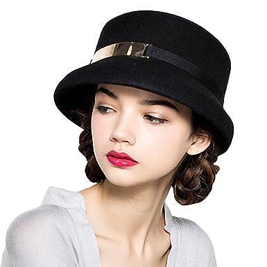 Maitose® Women s Simple Wool Felt Bucket Hat Black  Amazon.co.uk ... bda8f4c091ff