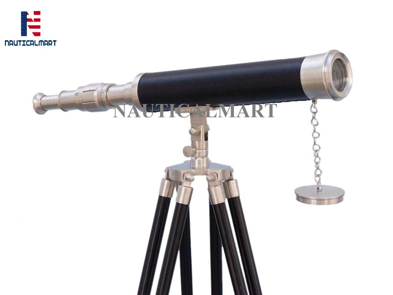 NauticalMart Floor Standing Brushed Nickel with Black Leather Harbor Master Telescope 18''