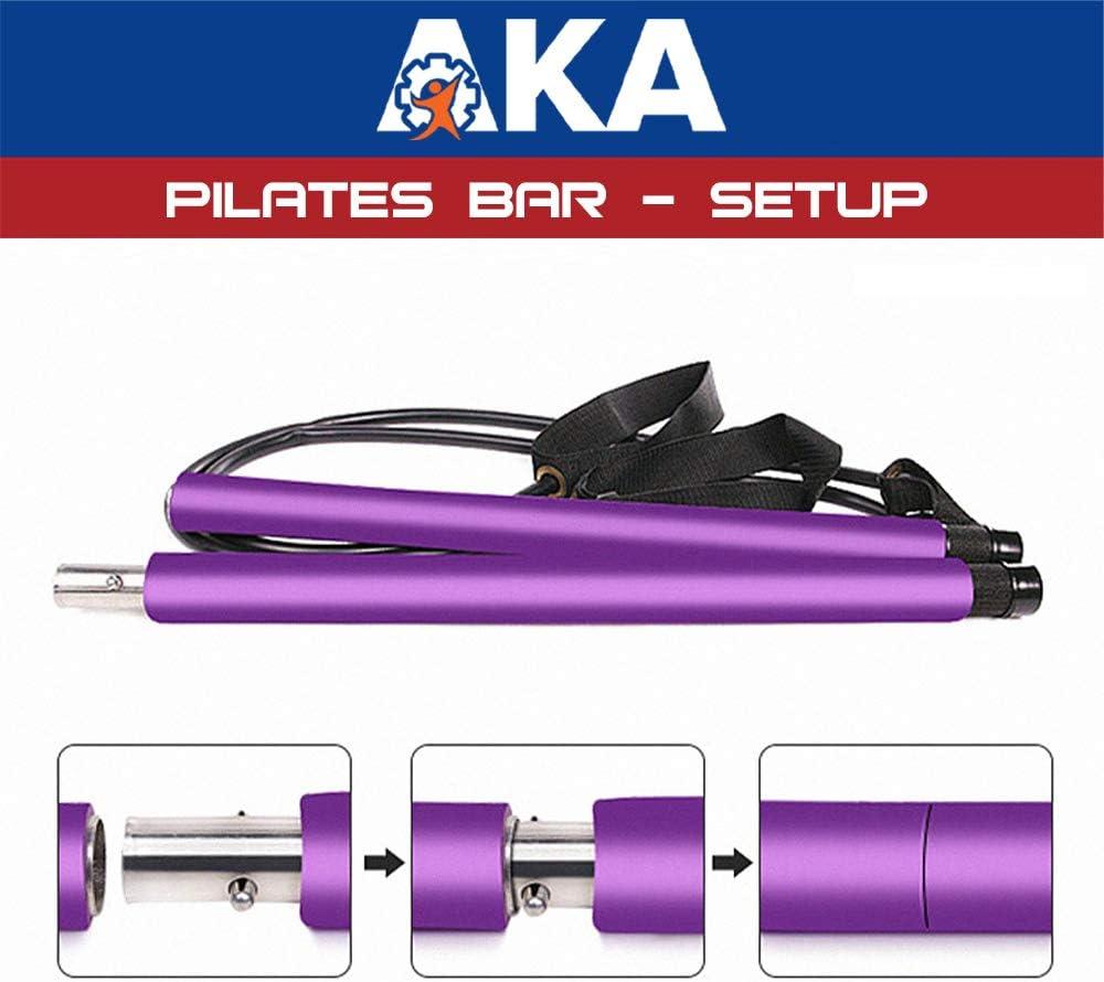 AKA Sports Gear Portable Yoga Exercise Pilates Bar Pilates Bar Kit with Resistance Band,Yoga Pilates Stick Total Body Workout Bar Stretch,Twisting,Sit-Up Bar Resistance Band Purple