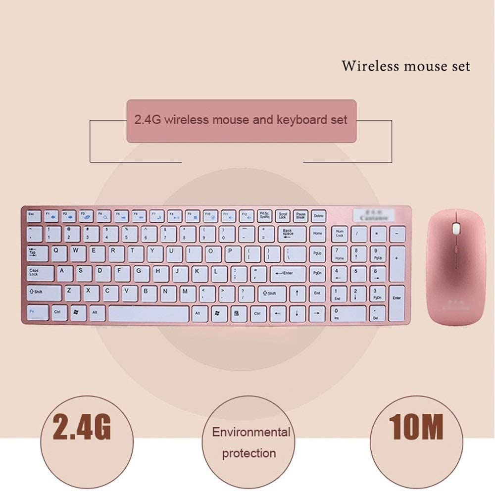 Long Range Wireless Connection Full Sized Keyboard Ultra Slim Wireless Keyboard and Mouse Combo 2.4 GHz Wireless Compact Mouse