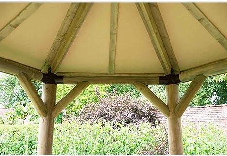Forest - Cenador ovalado de madera tradicional con techo, 6 m ...
