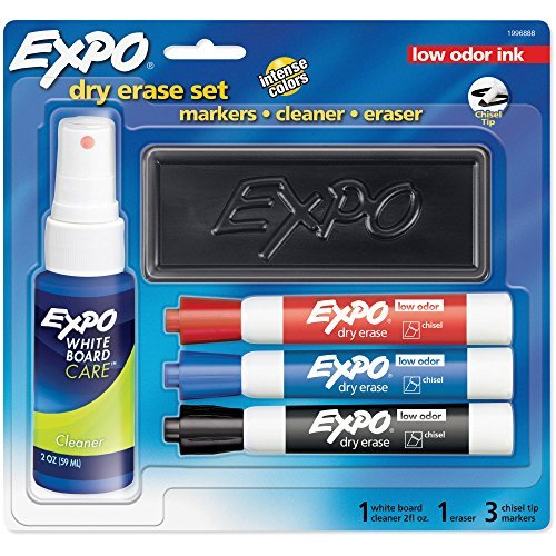 EXPO Low-Odor Dry Erase Set, Chisel Tip, Assorted Colors, 5-Piece Set
