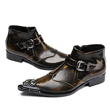 Mr.Zhangs Art Home Mens shoes Botines Marrones Puntiagudos para Hombre Personalizados
