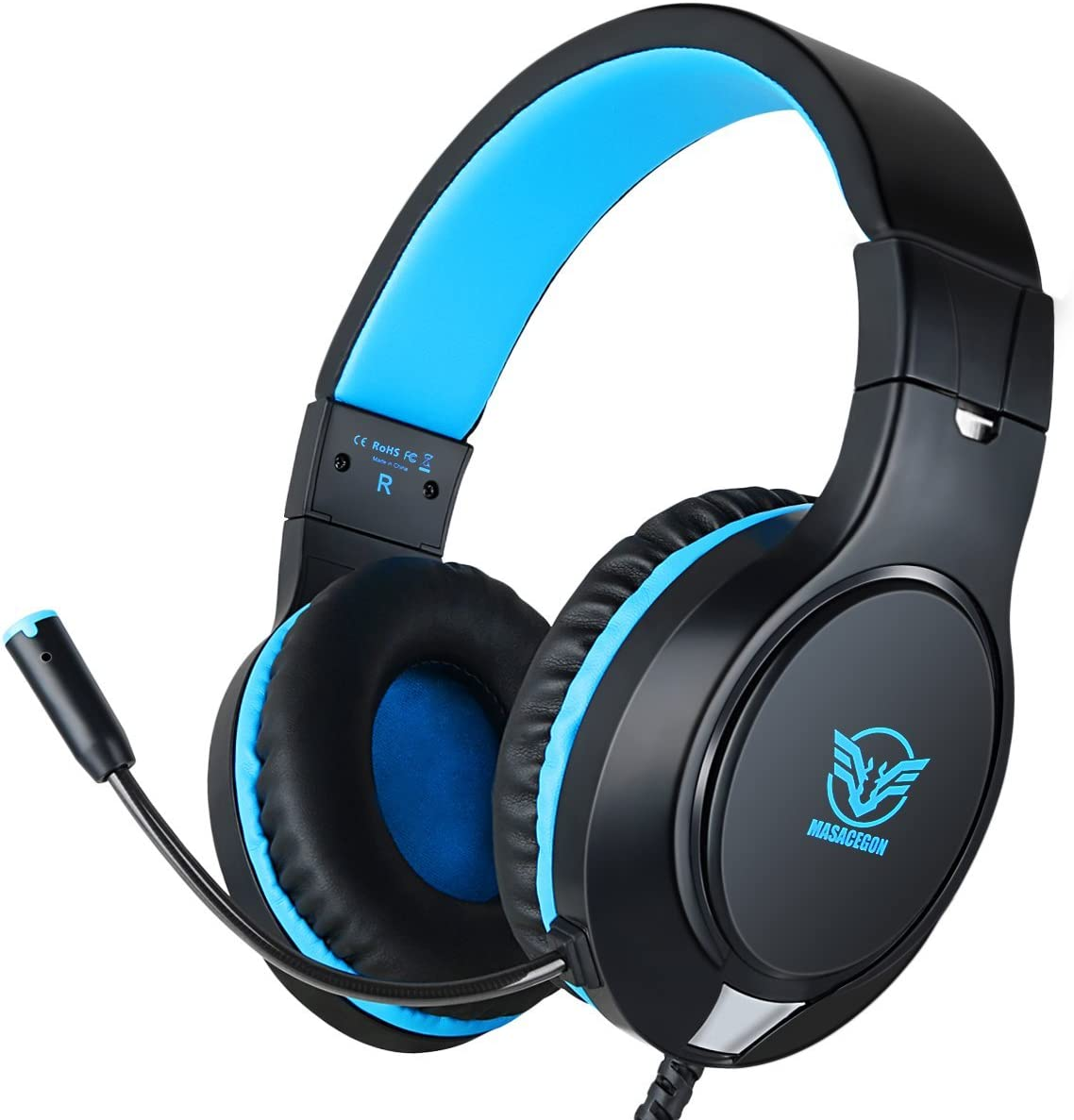 Amazon Com Gaming Headset For Xbox One Ps4 Nintendo Switch Bass Surround And Noise Cancelling With Flexible Mic 3 5mm Wired Adjustable Over Ear Headphones For Laptop Pc Ipad Smartphones Blue Black Computers Accessories
