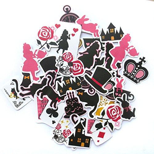 DadaCrafts(TM) Cat and Alice 33pcs 3cm - 4cm Large Bag Packaged Stickers Sets (Scrapbook Bag)