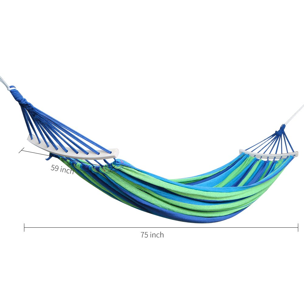 Rusee Double 2 Person Cotton Fabric Canvas Travel Hammocks 450lbs Ultralight Camping Hammock Portable Beach Swing Bed with Hardwood Spreader Bar Outdoor Indoor Bed