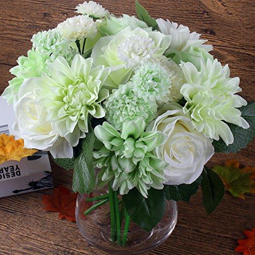 20 heads Artificial Flower Silk flower Rose Dahlia pinnata Cav. Cosmos Flower Fake Flower Faux Flower wedding bouquet roses flower arrangement bridal bouquets decoration (White Green)
