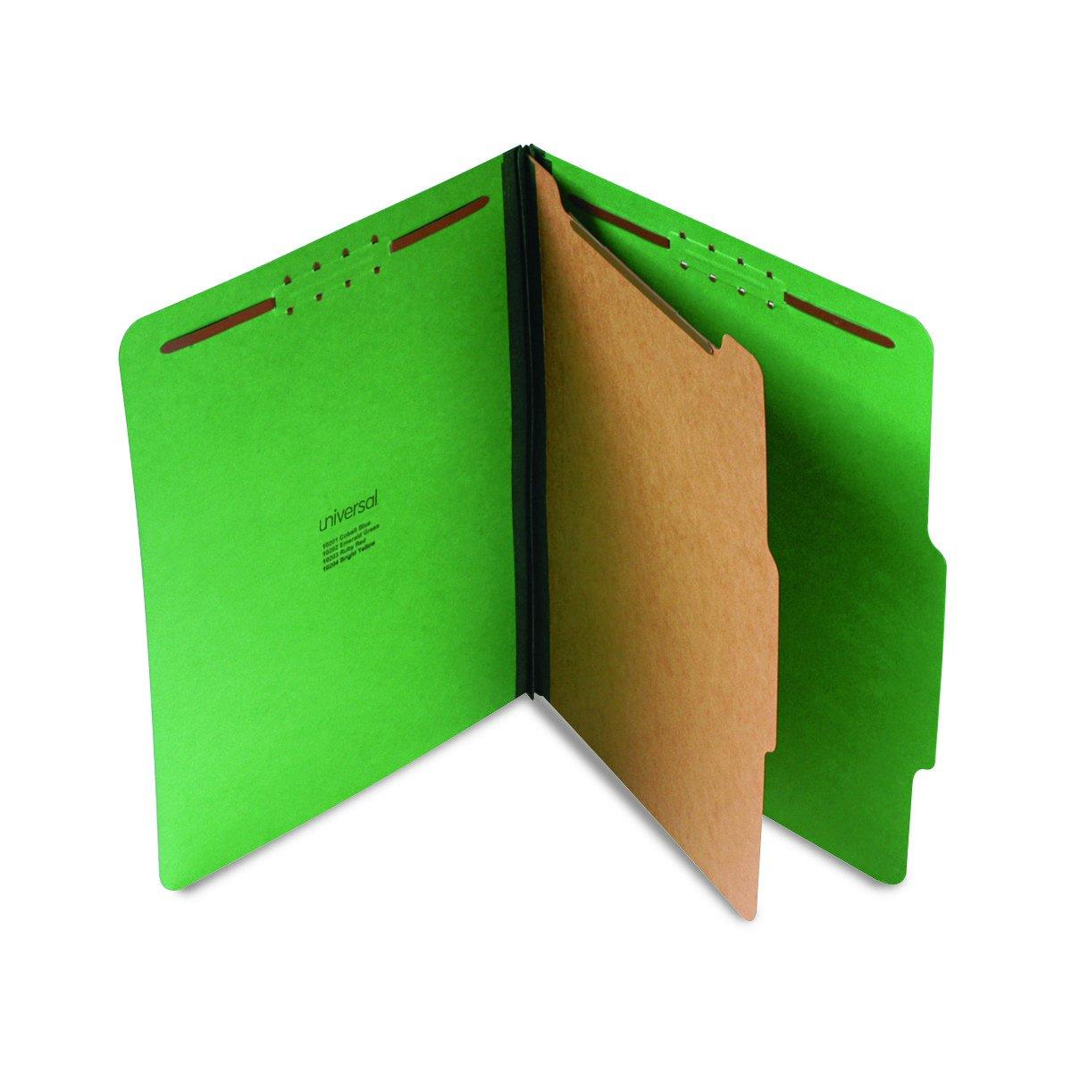 Universal 10202 Pressboard Folder, Letter, Four-Section, Emerald Green (Box of 10)