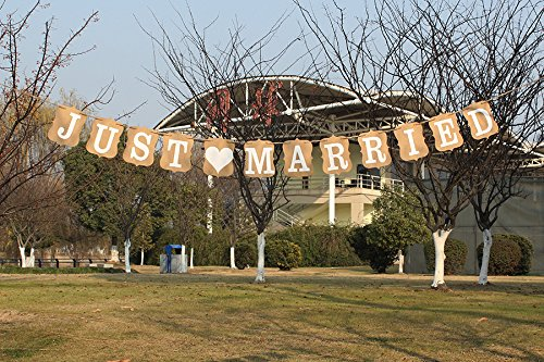 JUST MARRIED Letter Kraft Paper Card Banner Wedding Party Garland Hanging Sign LovenCity