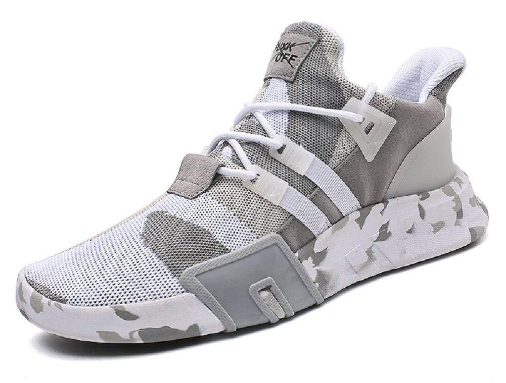 95a61885214672 JIYE Men's Running Shoes Free Transform Flyknit Camouflage Fashion Sneaker ,White,44EU=10US-Men