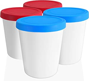LIN Ice Cream Storage Tubs with Lids 4-Pack - 1 Quart Round Reusable BPA-Free Freezer Containers for Homemade Ice Cream, Sorbet, Frozen Yogurt or General Food Storage