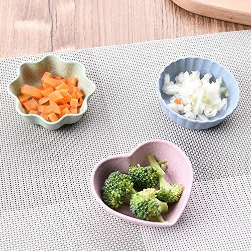 1PC Wheat Straw 4 Colors 3 Shaped Relish Plate Round Plastic Kitchen Accessories Heart Tableware Vinegar Sauce Seasoning Dish