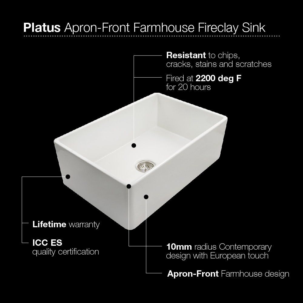 Houzer PTG-4300 WH Platus Series Apron-Front Fireclay Single Bowl Kitchen Sink, 33'', White by HOUZER (Image #4)