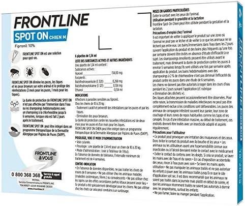 FRONTLINE Spot-on Chien - Anti-puces et anti-tiques pour chien - 10-20kg - 6 pipettes
