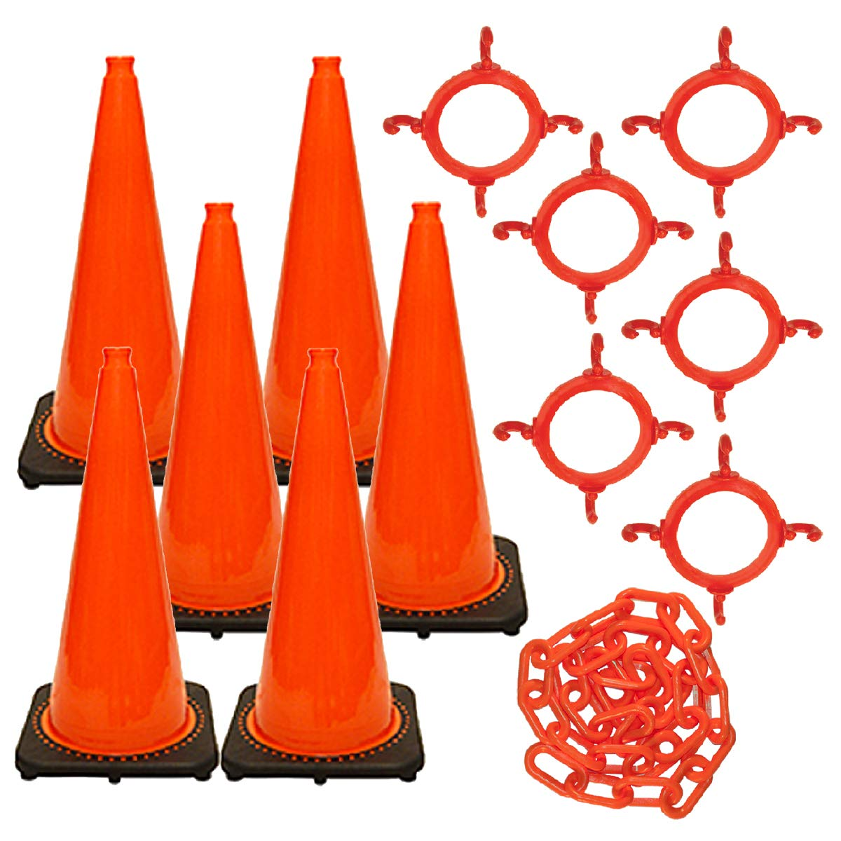 Mr. Chain Traffic Cone and Chain Kit, Traffic Orange, 28-Inch Height (93213-6) by Mr. Chain