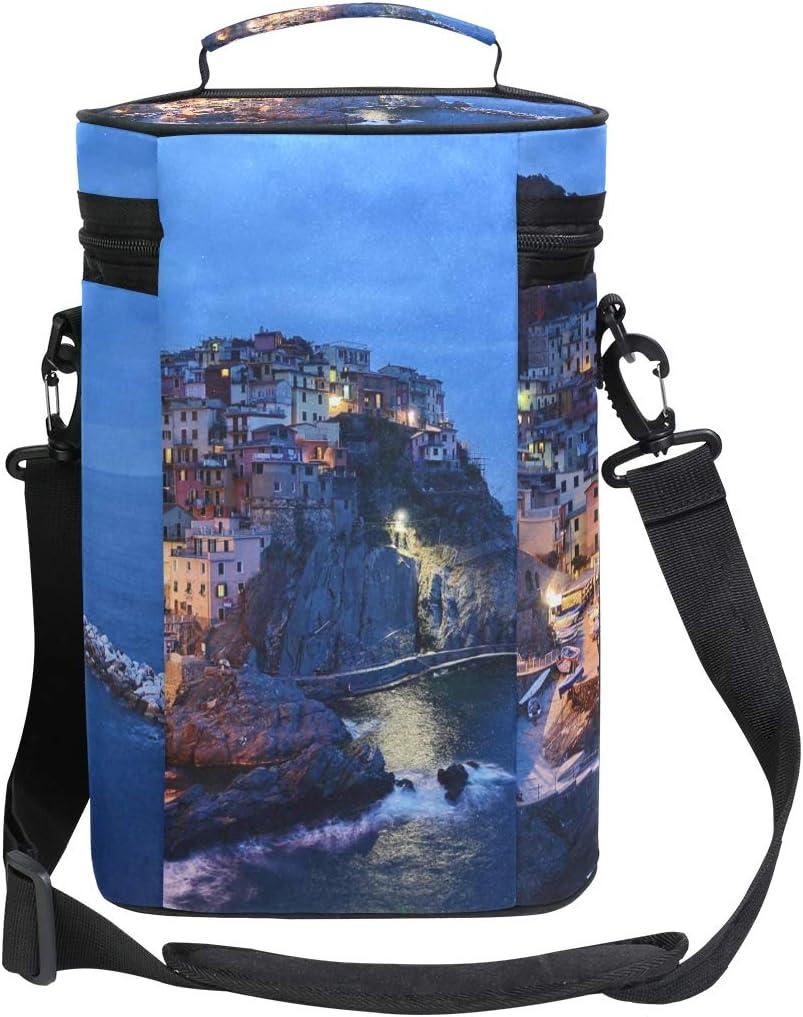 Montoj Bolsa enfriadora de vino aislada para viaje Italia Cinque Terre bolsa de vino