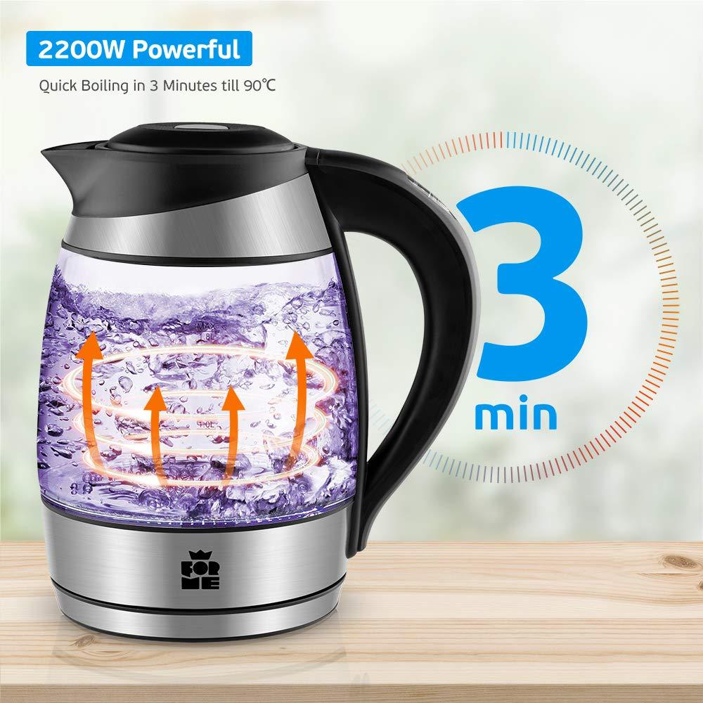 Con filtro de t/é ForMe Hervidores el/éctricos Hervidor de Cristal Inoxidable I Control de Temperatura 60-100/ºC I 2200W I 1,8 L I Pantalla LED I Funci/ón mantener caliente I Libre de BPA