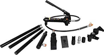 4 Ton Torin AT70401SB Portable Hydraulic Ram: Auto Body Frame Repair Kit with Blow Mold Carrying Storage Case 8,000 lb Black Capacity