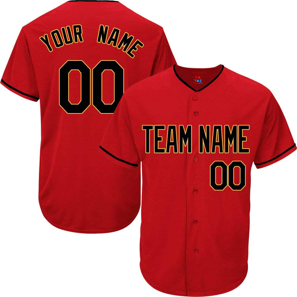 Red Customized Baseball Jersey for Men Practice Stitched Your Name & Numbers,Black-Gold Size S by Pullonsy