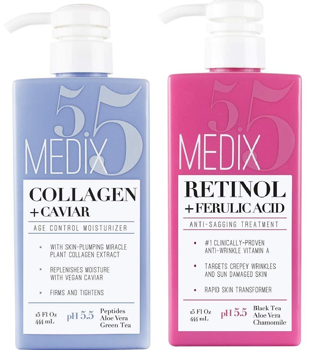 Medix 5.5 Retinol Cream and Collagen Cream Set. Medix 5.5 Retinol Cream with Ferulic Acid targets Crepey Skin, Wrinkles and Sun Damaged Skin. Collagen Cream firms and tightens Sagging Skin. Two 15oz by Medix 5.5