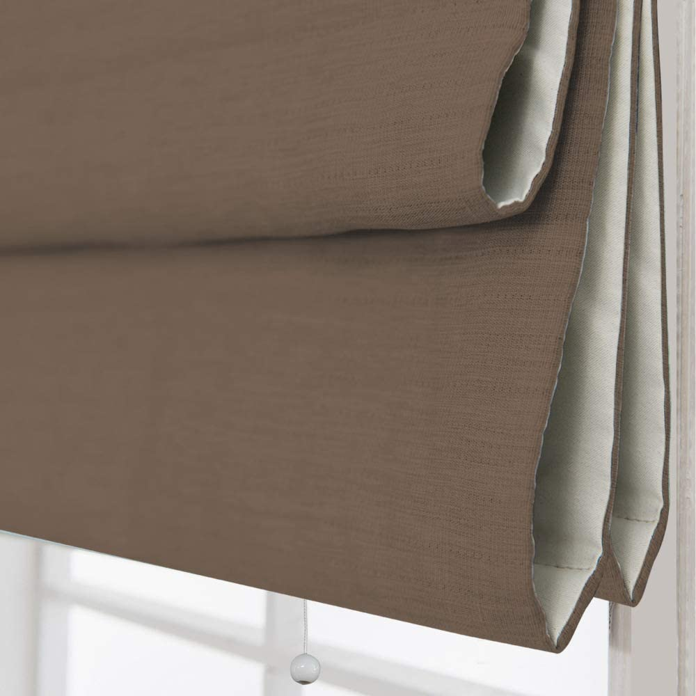 Artdix Cordless Roman Shades Blinds Window Shades - Brown (1 Piece) Blackout Light Filtering Solid Thermal Fabric Custom Made Roman Shades for Windows, Doors, Home, Kitchen